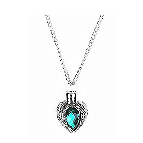 - Memorial Necklace for Ashes Stheanoo Alloy Heart-Shaped Green Rhinstone Urn Pendant