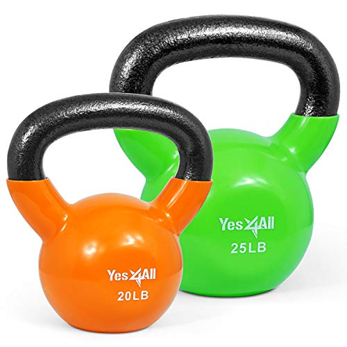 Yes4All Vinyl Coated Kettlebell Set of Weights – Strength Training Kettlebell Sets 25, 30, 35, 45, 60, 70, 105 lbs