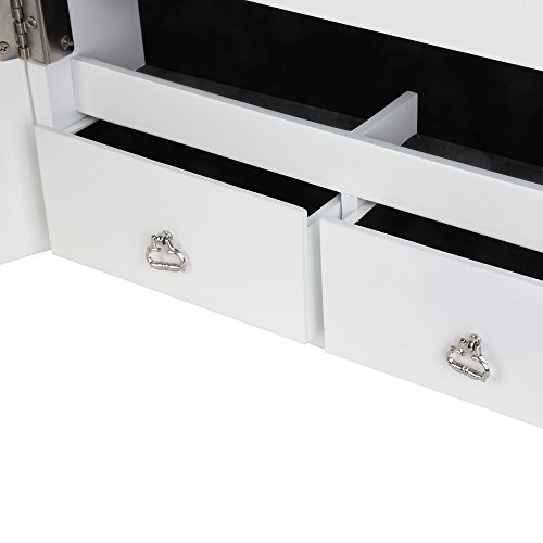 Homegear Modern Door/Wall Mounted Mirrored Jewelry Cabinet Organizer Storage White by Homegear (Image #3)