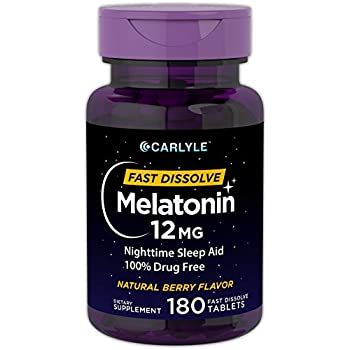 Carlyle Melatonin 12 mg Fast Dissolve 180 Tablets | Nighttime Sleep Aid | Natural Berry Flavor