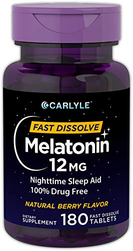 - Carlyle Melatonin 12 mg Fast Dissolve 180 Tablets | Nighttime Sleep Aid | Natural Berry Flavor | Vegetarian, Non-GMO, Gluten Free