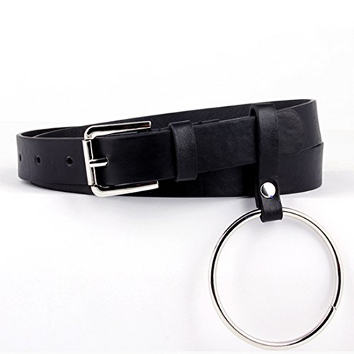 Exaggerated Round Metal Circle Belts Big Ring Belt Wild Jeans Belt Black
