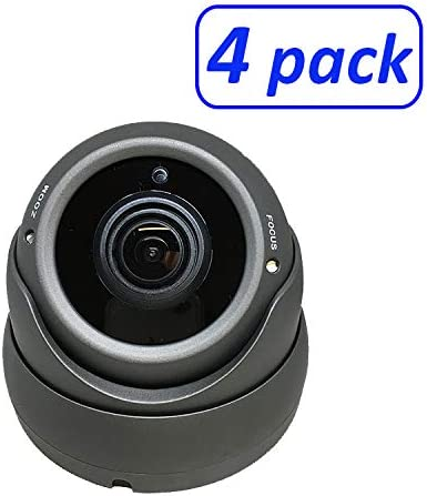 1080P 4in1 HD-TVI, HD-AHD, HD-CVI, CVBS Standard Analog STARVIS Image Sensor 2.8-12mm Varifocal Lens Dome Camera 4 Pack, Black