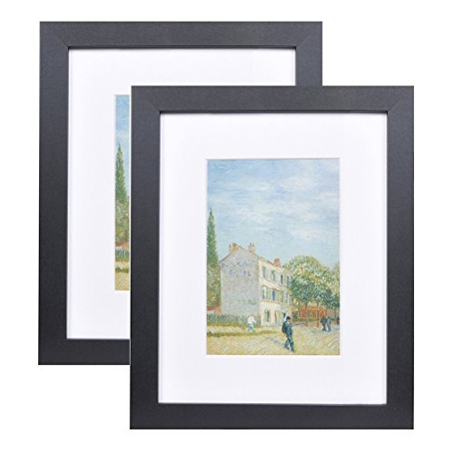 8x10 Wood Picture Frame - Flat Profile - 2 pcs - for Picture 5x7 with Mat or 8x10 Without Mat (Black)