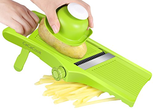 (Mandoline Slicer, Luckea 3-in-1 Adjustable Vegetable Slicer, Food Slicer for Fruits and Vegetables From Paper-Thin To 6mm With Stainless Steel Blades - Green)