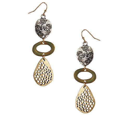 Erica Lyons Tri Tone Triple Drop Earrings