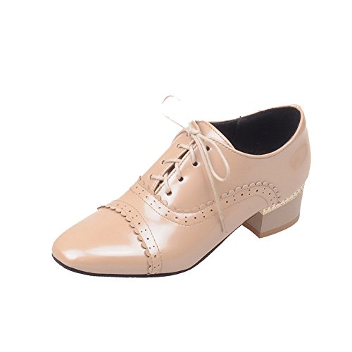Solid WeiPoot Lace Closed Square apricot Shoes Toe Heels Pumps up Women's Low RRrqyYF