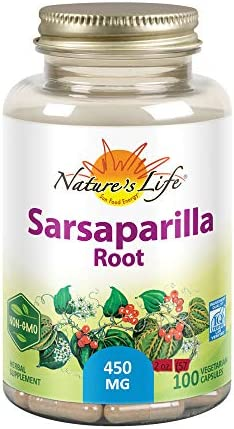 Nature s Life Sarsaparilla Root 450 Energy and Mood Support Joint and Skin Health Formula, Non-GMO, 100ct, 100 Serv.