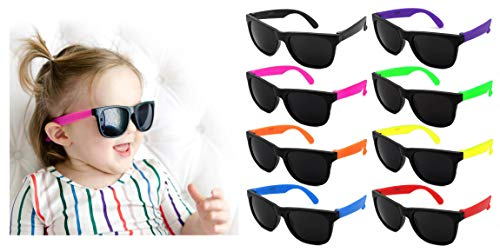 Edge I-Wear Kids 8-Pack Neon Sunglasses CPSIA Certified Lead (Pb) Content Free UV Protection Dark Lens. (Made in Taiwan) 9402RA/SET-8