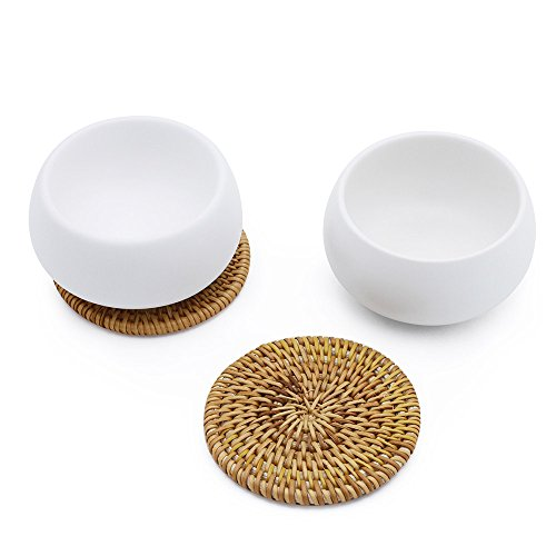 ZENS Multi Use Porcelain White Cups Set of 2 for Kung Fu Flower Tea Cup Coffee Mug, Dessert Cup, Snacks Dry Fruits Bowl with Ratten Coaster 55ml