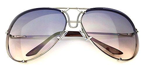 80's Vintage Retro Aviator Design Metal Wire Frame Large Lenses Sunglasses (Silver, Light ()