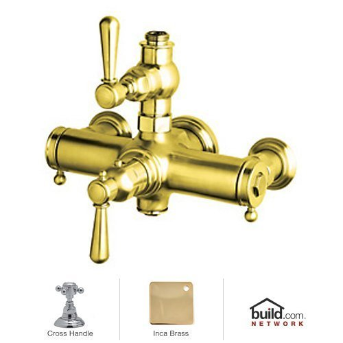 Rohl A2917XMIB Country Bath Collection Verona Exposed Thermostatic Mixer with Cross Handles, Inca (Rohl Exposed Thermostatic Mixer)