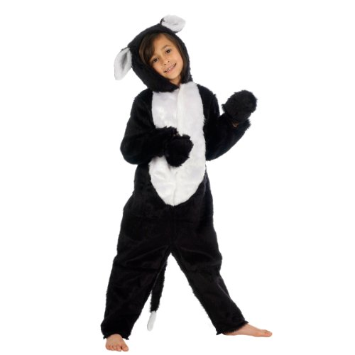 Black and White Cat Costume for Kids 6-8 Yrs (Cat Soft Costume)