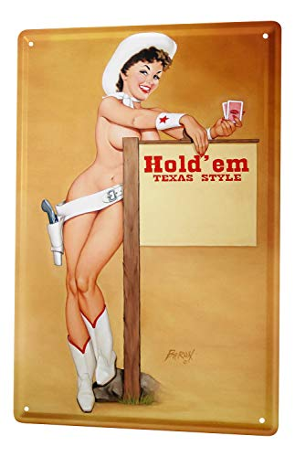 (LEotiE SINCE 2004 Poker Texas boots hat Tin Sign 20x30 cm metal shield Shield Wall Art Deco decoration retro pinup girl Advertising)
