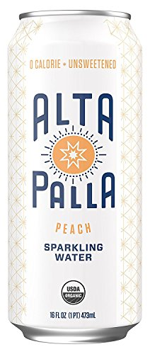 Alta Palla Peach Sparkling Water, 16 Fluid Ounce Cans, 8 Count ()