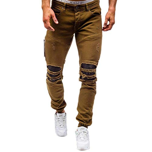 Stretch Retro Straight Jeans Men's Khaki Pants Giovane Skinny Holes Fashion Denim Ridges Saoye Knee Jogger Ripped Pantaloni In OzBZq7Ux