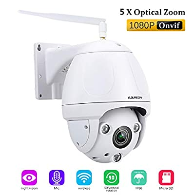 FLOUREON 4X ZoomIP Camera PTZ WiFi Wireless CCTV Security Dome Camera Waterproof HD H.264 Optical Zoom Auto-Focus, 355°Pan/90°Tilt, IR-Cut Night Vision, Motion Detection by floureon