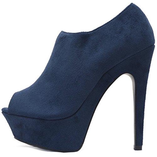 Plateau Peeptoes Stiefeletten Damen Ankle Boots in Velours Samt mit Reißverschluss Blau