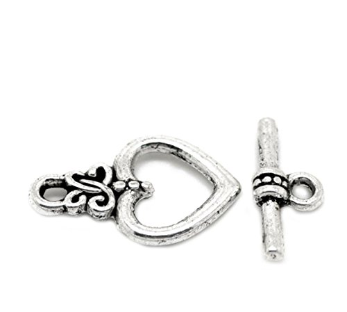 Housweety 50 Sets Silver Tone Heart Toggle Clasps Findings 21mmx13mm 17x7mm
