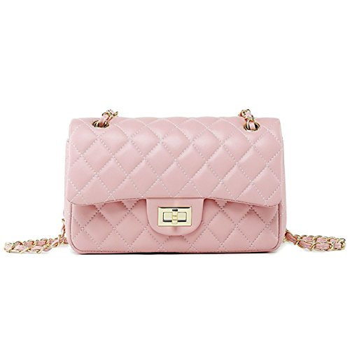 (Women's Chain Quilted PU Leather Shoulder Bag (10'', Pink))