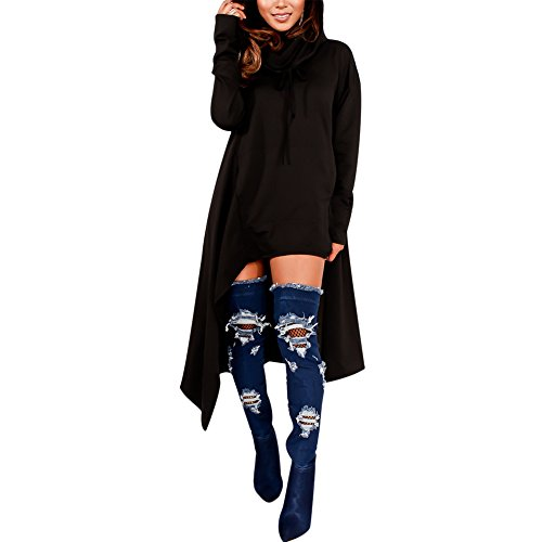 Women's Plain Long Sleeve Asymmetric Hem Pullover Hooded Sweatshirt Dress with Pockets Black L -