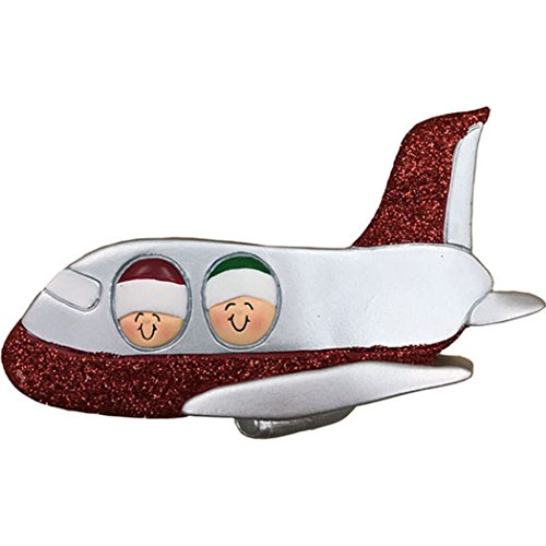 Personalized Airplane Family of 2 Christmas Ornament for Tree 2018 - Couple Siblings Friends with Glitter Hat Flight - Vacation Way Trip Honeymoon Winter Tradition - Free Customization by Elves (Two) by Ornaments by Elves