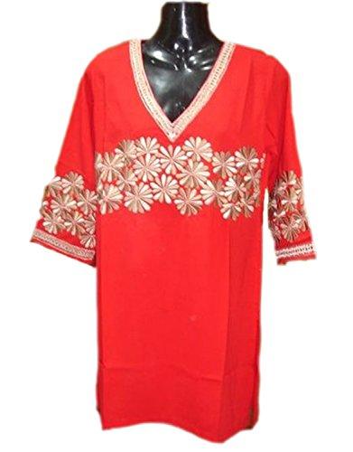 Jayayamala Tunique brodée en coton rouge