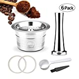 Umiwe 6PCS Stainless Steel Coffee Tamper Kit for Caffitaly/TCHIBO Coffee Machines Refillable Capsule Capsules Reusable Pods with 1 Coffee Capsule Box, 1 Brush & 1 Coffee Spoon& 2 Transparent Ring