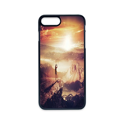 Phone Case Compatible with iPhone7 Plus iPhone8 Plus 2D Print Black Edge,Adventure,Traveler Woman with Backpack on Mountain Surveying Sunset Adventure Photo Print,Multicolor,Hard Plastic Phone Case ()