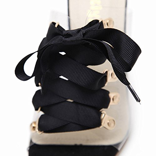 Slip Toe Up Carolbar Transparent Black Sandals Peep Heel Slippers High Lace Womens on wTUYt