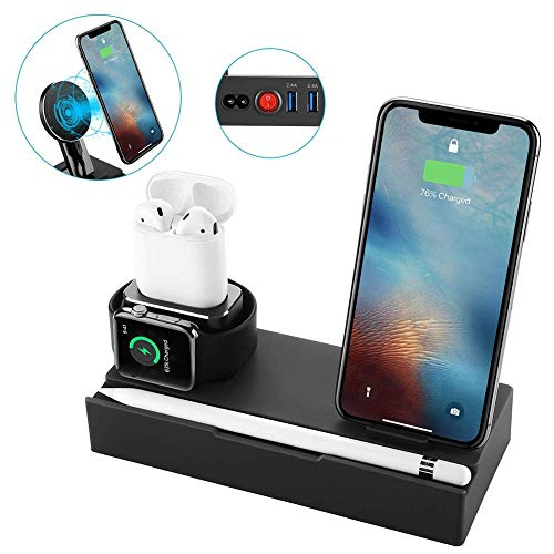 (6 in 1 Wireless Charger Stand Compatible for iPhone Xs/Xs Max/Xr/X, Charging Dock for iWatch Series 4/3/2/1/AirPods/iPad/Apple Pencil, Detachable Wireless Charger for Samsung Galaxy S9/S8/S7/S6 Edge)