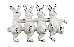 Antiqued farm house White Easter Bunny RABBIT cast iron Wall Hook Key Rack