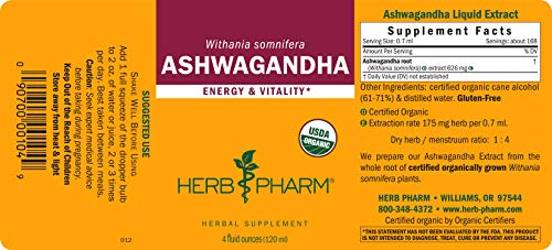 Herb Pharm Certified Organic Ashwagandha Liquid Extract for Energy and Vitality - 4 Ounce by Herb Pharm (Image #5)