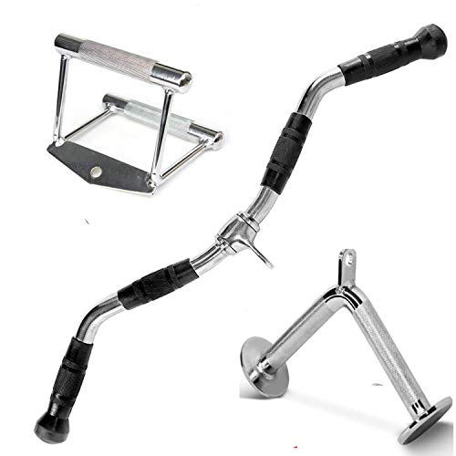 FITNESS MANIAC Home Gym Cable Attachment Handle Machine Exercise Chrome PressDown Strength Training Home Gym Attachments 30 inch Curl Bar Set (3 Pieces Set) by FITNESS MANIAC (Image #1)