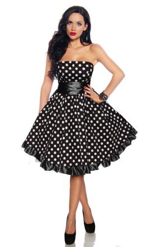 weiß schwarz Schwarz Rockabilly Kleid Damen Weiß AqFxqBUCw