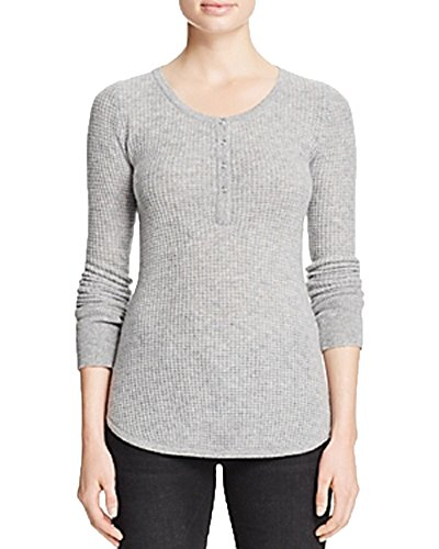 AQUA Cashmere Waffle Knit Henley Cashmere Sweater (Flannel, M) by Aqua