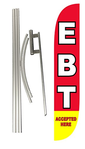 LookOurWay EBT Accepted Here Feather Flag Complete Set with Pole & Ground Spike by LookOurWay