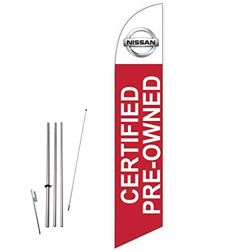 Cobb Promo Nissan Certified Pre-Owned (Red) Feather Flag with Complete 15ft Pole kit and Ground Spike