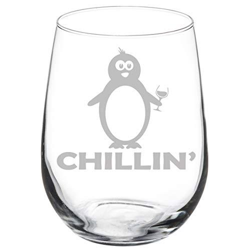 Wine Glass Goblet Funny Penguin Chillin (17 oz Stemless)]()