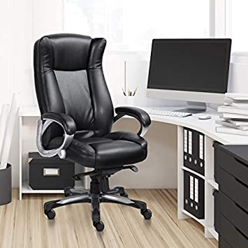 MDL Furniture Executive Office Chair High Back Thick Padded Heavy Duty Office Chair 5-Position Tilt and Lock Home Office Chair Bonded Leather Black