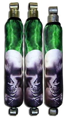 Polaris rzr seat of 4 Green Lightning Skull Pile Shock Cover
