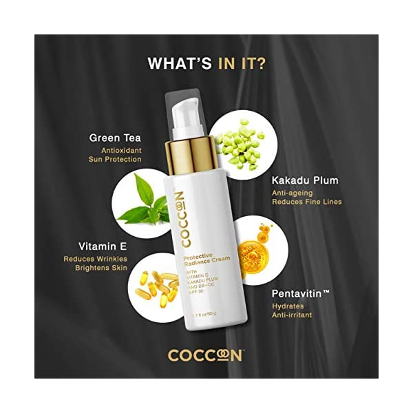 Coccoon Vitamin C Enriched Protective Radiance Cream-Tinted Moisturizer, SPF 30, BB + CC Cream, Evens Skin Tone With… 2021 June Coccoon Protective Radiance Cream is an all in one solution for all your daily skin needs! It is a combination of BB + CC + SPF + Moisturizer. The Protective Radiance Cream is a BB + CC cream that suits all skin tones giving you a no makeup, makeup look. This non-greasy cream corrects all your blemishes, reduces wrinkles and fine lines, brightens, makes skin even tone, giving you flawless coverage with a radiant glow. Coccoon Protective Radiance Cream is enriched with potent Vitamin C Kakadu Plum (has 100 times more Vitamin C than an Orange), antioxidizing properties of Green Tea and nourishing Vitamins.