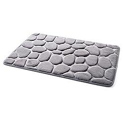 Saymequeen 16x24 inch 3D Cobblestone Carpets Entrance Doormat Kitchen Rug Bathroom Bedroom Mat Pebbles Carpets (gray)