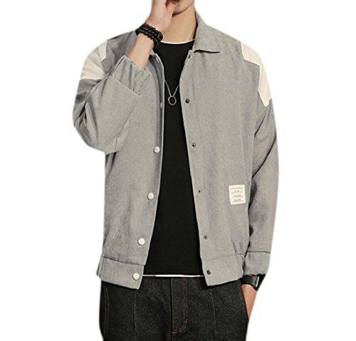 Grigio Voga Bomber Retrò Beeatree Plus Cappotto Size Uomini Outwear Ricami wvzg0x6zq