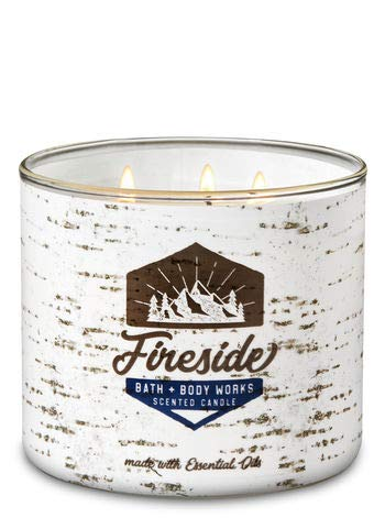 Bath and Body Works White Barn Fireside 3 Wick Candle 14.5 Ounce White Bark Lable