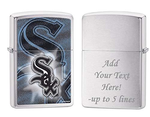Sox Mlb Zippo Lighter - Zippo Personalized Message Engraved on Backside Chicago White Sox Team Baseball MLB Brushed Chrome Zippo Lighter