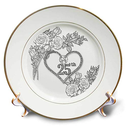 """3dRose Silver Heart and White Roses 25Th Anniversary for Wedding Or Business Plate 8"""""""