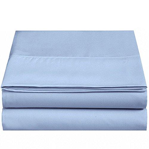 (4U LIFE Flat sheet-Ultra soft & Confortable Microfiber,Light-blue,Queen)