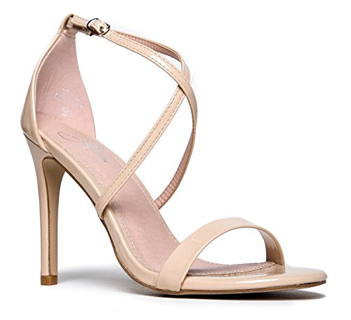 J. Adams Strappy High Heel Sandal, Nude Patent, 6.5 B(M) (Patent High Heeled Peep Toe)