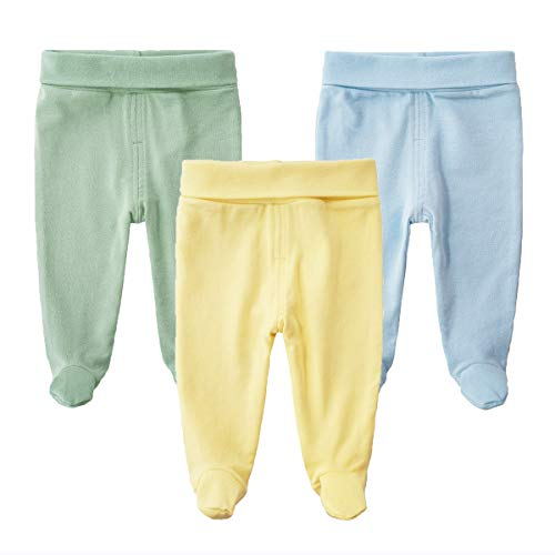 - SYCLZ Baby 3-Pack Cotton High Waist Footed Pants Casual Leggings 0-12M (0-3M, D)